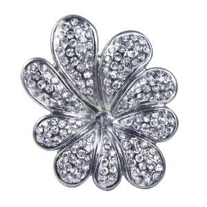 Gunmetal Black Crystal Flower Stretch Ring Jewelry