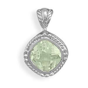Rhodium Plated Green Amethyst Pendant Jewelry