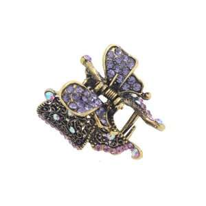 Antique Brass Rhinestone Small Butterfly Hair Claw Lilac Beauty
