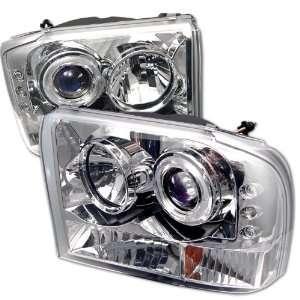 2004 Ford F250 1Pc SR LED Chrome Halo Projector Headlights Automotive