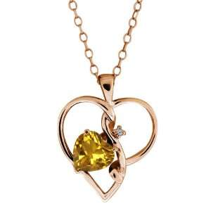 Ct Heart Shape Citrine and Topaz Gold Plated Silver Pendant Jewelry