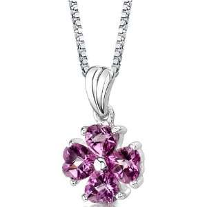 Heart Shape Checkerboard Cut Pink Sapphire Pendant with 18 inch Silver