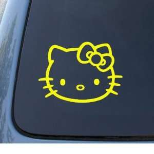 HELLO KITTY FACE   5.5 YELLOW Decal   Cat Feline   Car, Truck
