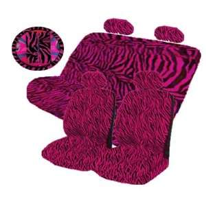 13 Pieces Hot Pink Zebra Low Back Seat Covers Bench Seat Cover with 2