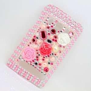 For HTC Evo 4g Bling Diamond Pink Flower Hard Case Skin