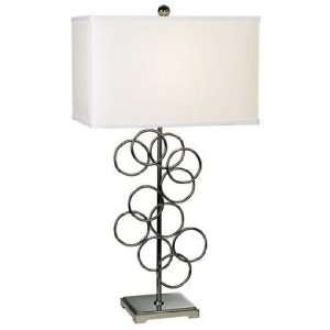 Black Chrome Finish Floating Rings with Box Shade Table Lamp