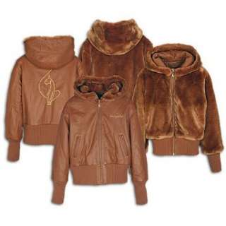 Baby Phat Womens Reversible Leather Hooded Jacket Clothing