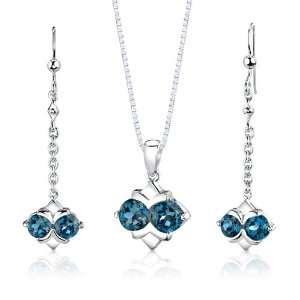 London Blue Topaz Pendant Earrings and 18 inch Necklace Set Peora