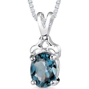 25 cts Oval Cut London Blue Topaz Pendant in Sterling Silver Rhodium