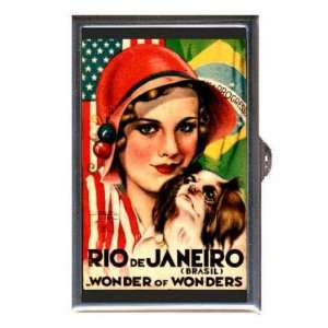 RIO BRAZIL 1940s GIRL & DOG Coin, Mint or Pill Box: Made
