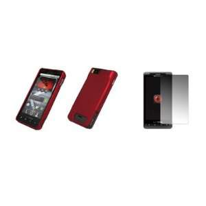 Motorola Droid X MB810   Premium Red Rubberized Snap On Cover