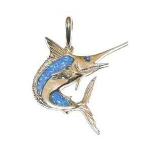 Reyes del Mar 14K Gold Opal Marlin Nautical Pendant