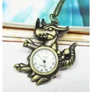 Watch Necklace Gozila Dinosaur Locket Charm Pendant Necklaces Jewelry