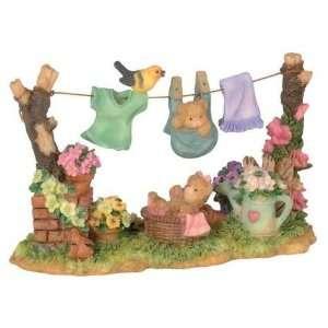 inch Clothes Line With Playful Teddy Bear & Baby Bear Figurine