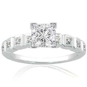 1 Ct Princess Cut Diamond Engagement Ring Bezel Set 14K