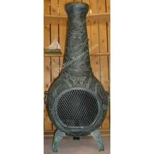 Butterfly Chiminea Outdoor Fireplace in Antique: Patio, Lawn & Garden