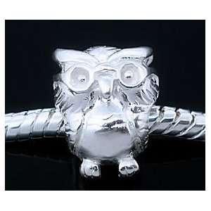 WISE OWL 925 Sterling Silver European Style Charm Bead