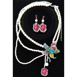 rainbow rhinestone flower pearl necklace earring set