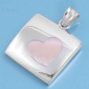 And Pink Mother of Pearl Stone Pendant   Heart   23mm Height Jewelry