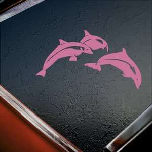 Leaping Dolphins Pink Decal Car Truck Window Pink Sticker