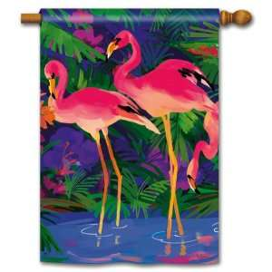 PINK FLAMINGOS Standard Yard Flag 28x40 Home & Kitchen