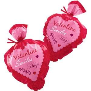 Pink Damask Heart Shaped Valentine Bags   Pack of 15