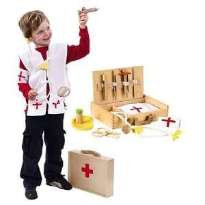 8 Piece Wooden Pretend Play Doctors Kit with Storage Case