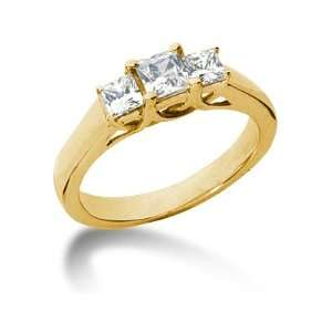 04CTW Trellis Three Stone Princess Cut Diamond Ring in 14k Yellow Gold