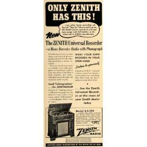 1940 Ad Zenith Radio Recorder Phonograph Appliance Home