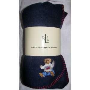 Ralph Lauren Fleece Throw Blanket Navy Teddy Bear II