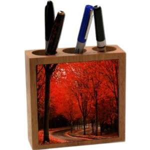 Rikki KnightTM Red leaves Fall Park scenery 5 Inch Tile Maple Finished