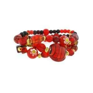 Fashion Jewelry ~ Red Genuine Glass & Gem Stone 3 Layers