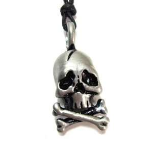 The Flesh Eater Skull Pewter Pendant with Corded Necklace Jewelry
