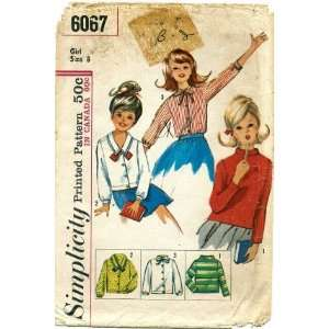Simplicity 6067 Sewing Pattern Girls Set of Blouses Size 8