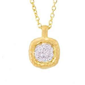14k Yellow gold with White diamonds square pendant necklace Jewelry