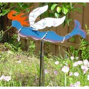 Hand painted Metal Sculpture Garden Stake Yard Art Flying