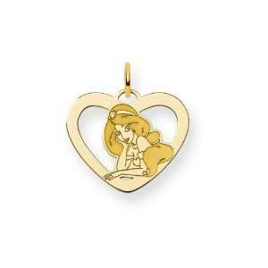 Gold Plated Sterling Silver Disney Jasmine Heart Charm Jewelry