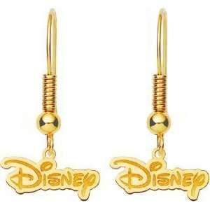 Gold Plated Sterling Silver Disney Logo Dangle Earrings Jewelry