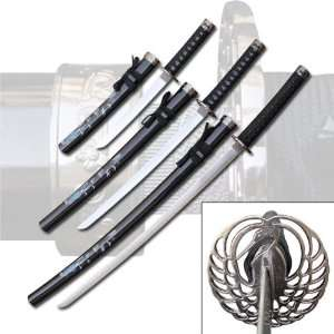 3 Pc Kissing Crane Sword Set   Black Everything Else
