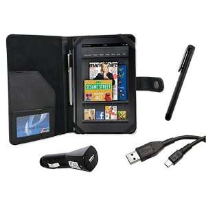 Cover Folio Leather Case (Black) for  Kindle Fire Tablet PC