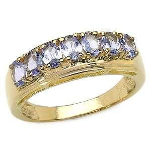 1.20 Carat Genuine Tanzanite 14K Yellow Gold Over Silver