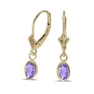 Gold Oval Tanzanite Bezel Lever back Earrings (3/4ct TGW) Jewelry