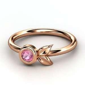 Boutonniere Ring, Round Pink Tourmaline 14K Rose Gold Ring Jewelry