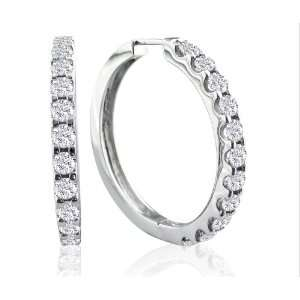 14k White Gold Diamond Hoop Earrings (1 1/2 cttw, I J Color