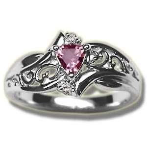 .03 ct White Gold 4mm Trillion Pink Tourmaline Ladies Ring Jewelry