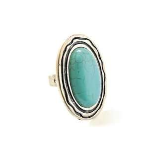 Collection Plain Round Turquoise Adjustable Ring