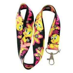 New Tweety Bird Black with Pink Flower Lanyard Keychain