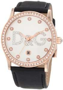 Womens DW0501 Gloria Rose Gold Silver Dial Black Strap Watch Watches