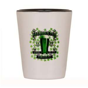 Shot Glass White and Black of Shamrock Pub Luck of the Irish 1759 St