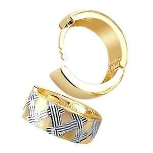 Hoop Earrings 14k Yellow White Gold Designer 1/2 inch